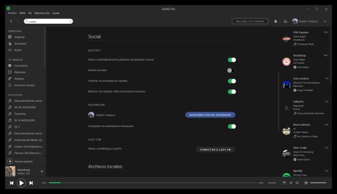 Ajustes sociales de Spotify para preservar la privacidad