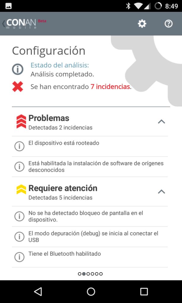 CONAN mobile para Android - fallos de configuración