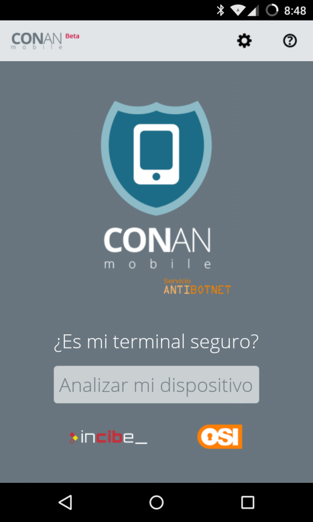 CONAN mobile para Android - pantalla principal
