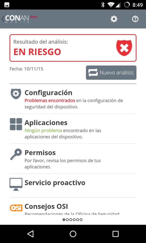 CONAN mobile para Android - resumen de análisis