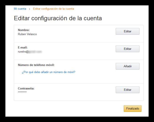Configuración de la cuenta de Amazon