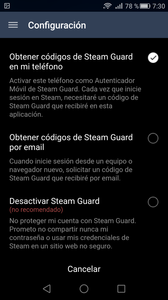 Configurar la seguridad de Steam Guard