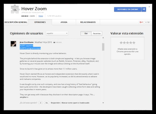 Extensión Google Chrome Espía