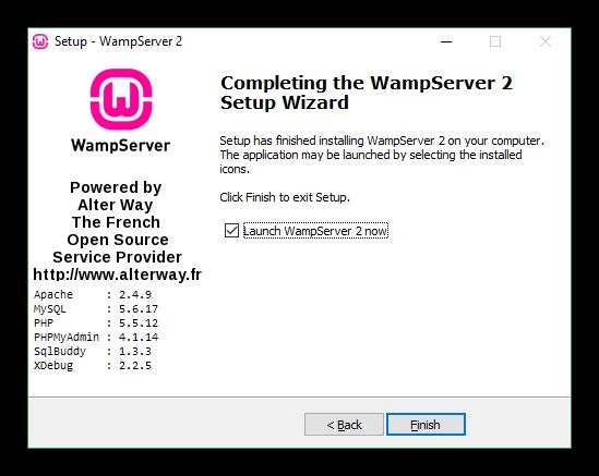 Instalación Wamp finalizada