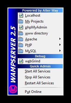 Menú Wamp Server