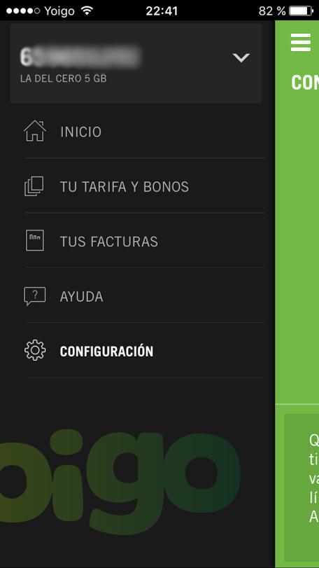 Mi Yoigo App - panel lateral