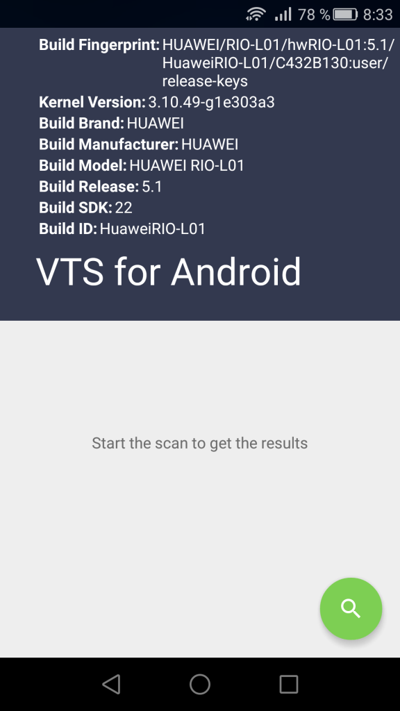 VTS for Android - Pantalla principal