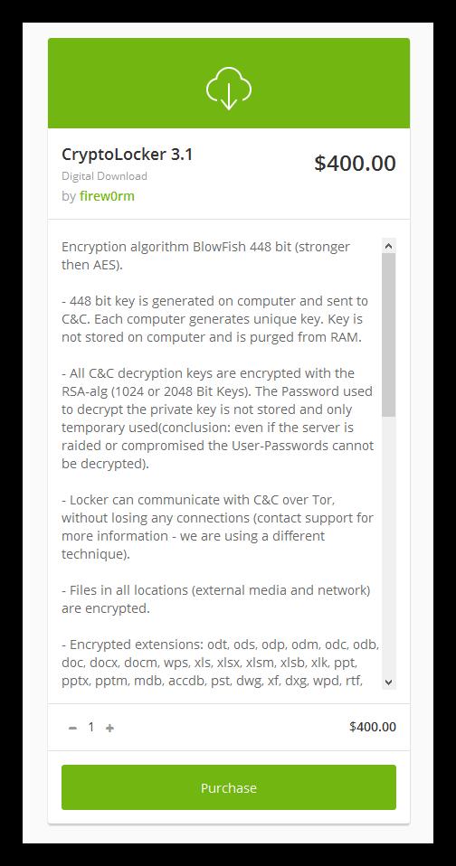 Venta ransomware CryptoLocker 3.1