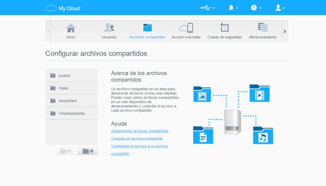 WD my cloud mirror menú de configuración web archivos