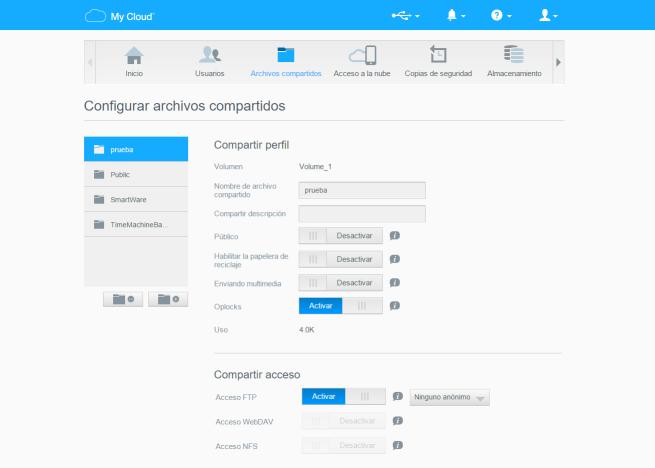 WD my cloud mirror menú de configuración web archivos configuración detallada