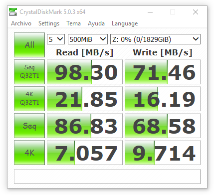 synology ds416 RAID0 con cifrado 500 MB