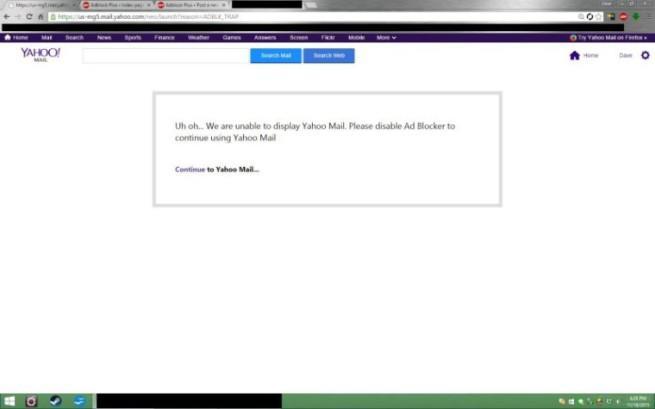 yahoo! no permite a los usuarios utilizar adblock