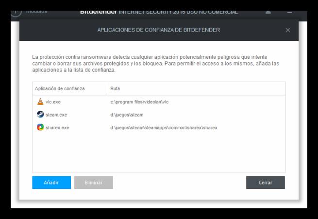 Aplicaciones de confianza de Bitdefender
