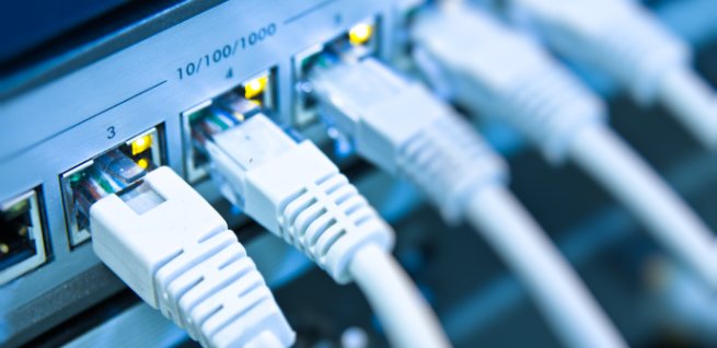 Cables conectados a Gigabit Ethernet