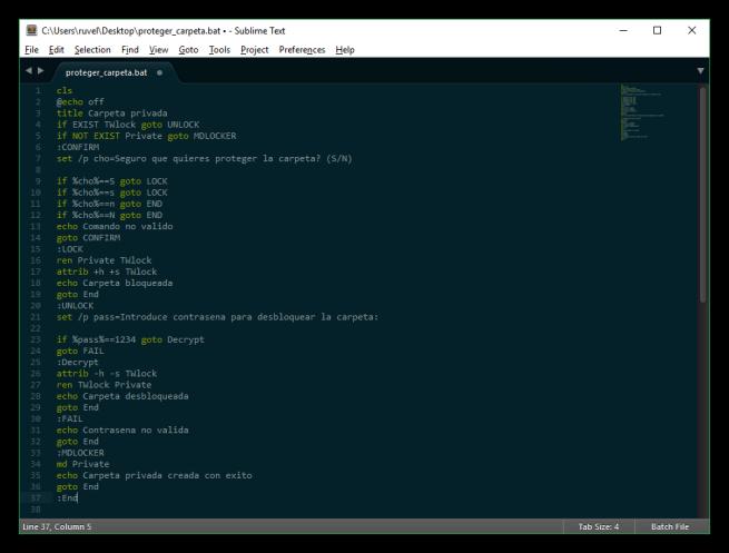 Código fuente del script para bloquear carpetas en Windows