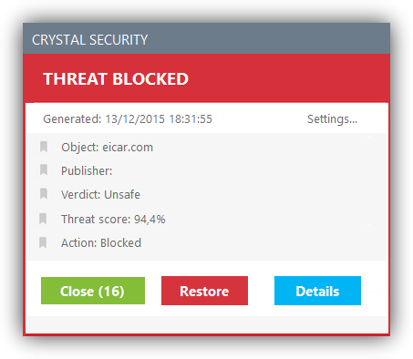 Crystal Security - virus detectado