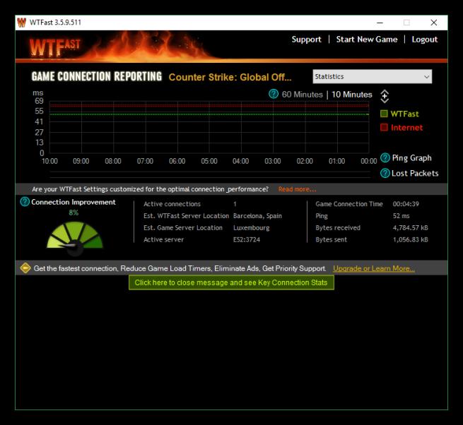 Estado de conexión WTFast