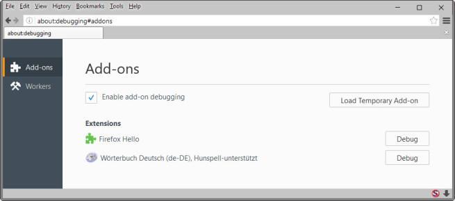 Firefox - Carga temporal de extensiones