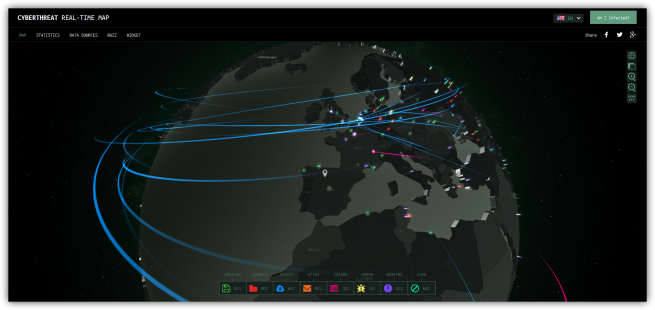Kaspersky CyberThreat Real-Time Map - amenazas globales