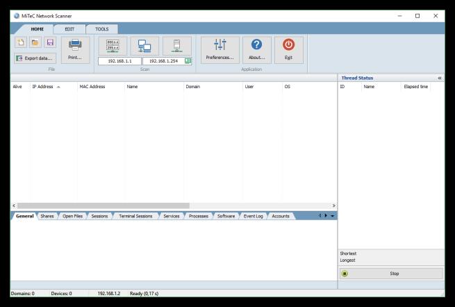 MiTeC Network Scanner - Ventana principal