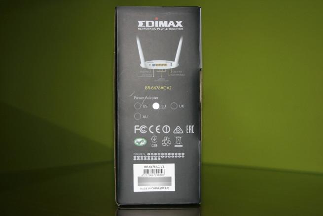 Lateral derecho de la caja del router Vista frontal de la caja del router Edimax BR-6478AC V2