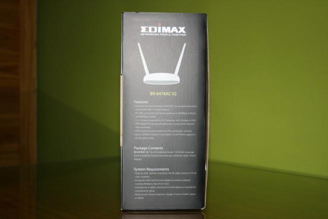 Lateral izquierdo de la caja del router Vista frontal de la caja del router Edimax BR-6478AC V2