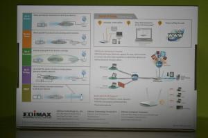 Trasera de la caja del router Vista lateral derecha de la caja del router Vista frontal de la caja del router Edimax BR-6478AC V2