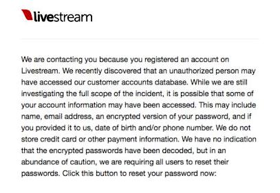 livestream comunicado hackeo