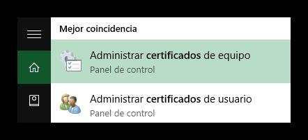 Abrir administrador de certificados de Windows
