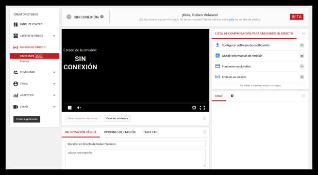 Centro de emisión en directo de YouTube