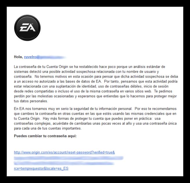 Correo actividad sospechosa EA
