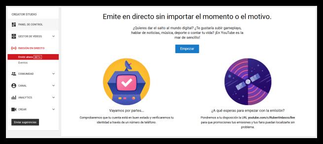 Emitir vídeo en directo por YouTube