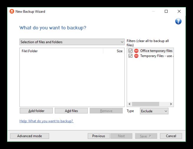FBackup - Archivos para la copia de seguridad
