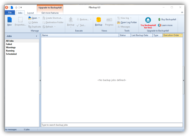 FBackup - ventana principal