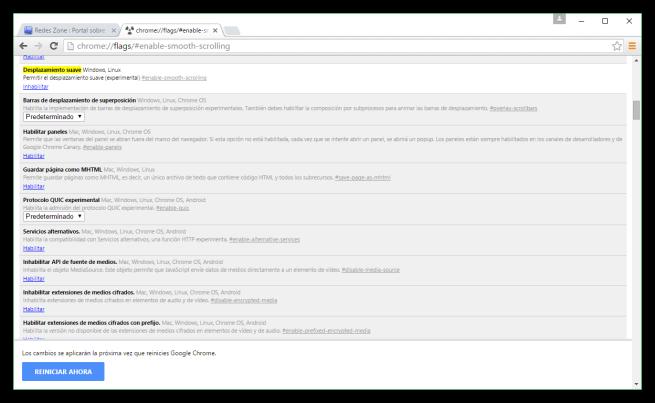 Google Chrome - Desplazamiento suave