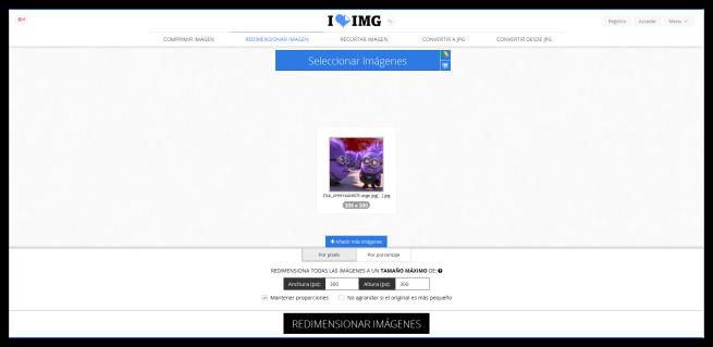Herramienta de redimensión de iLoveIMG