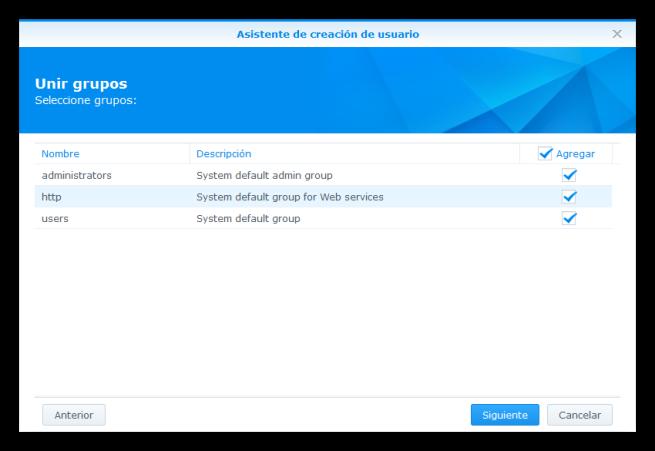 NAS Synology - Seguridad - Crear nuevo usuario 3
