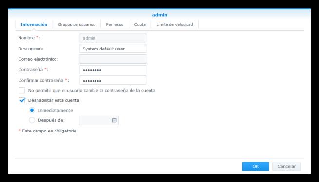 NAS Synology - Seguridad - Deshabilitar cuenta administrador
