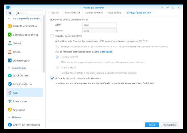 NAS Synology - Seguridad - Habilitar HTTPS y cambiar puertos