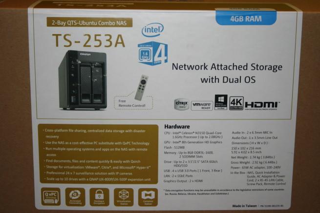 Especificaciones del NAS QNAP TS-253A