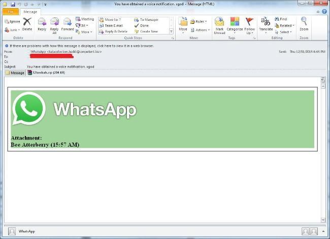 utilizan whatsapp para distribuir un malware