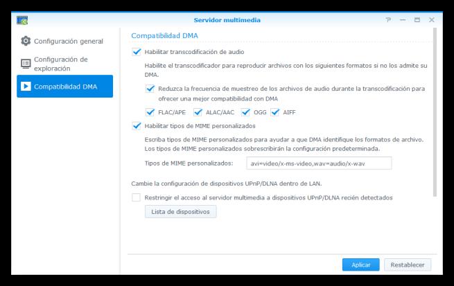 Configurar compatibilidad DMA servidor multimedia NAS Synology