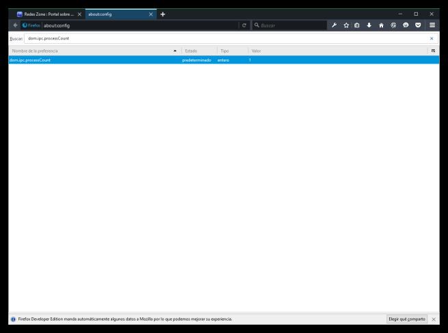 Configurar el número de procesos en Firefox