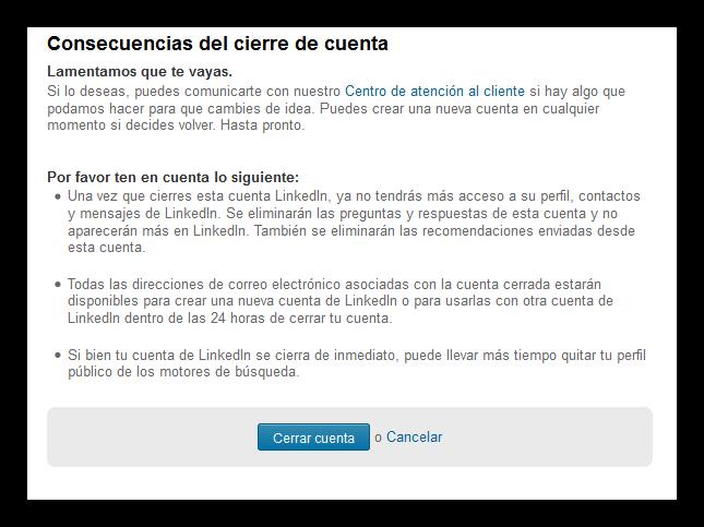 Consecuencias de cierre de cuenta de LinkedIn