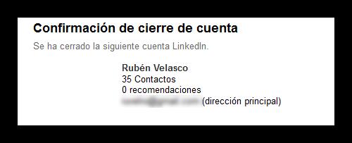 Cuenta de LinkedIn cerrada