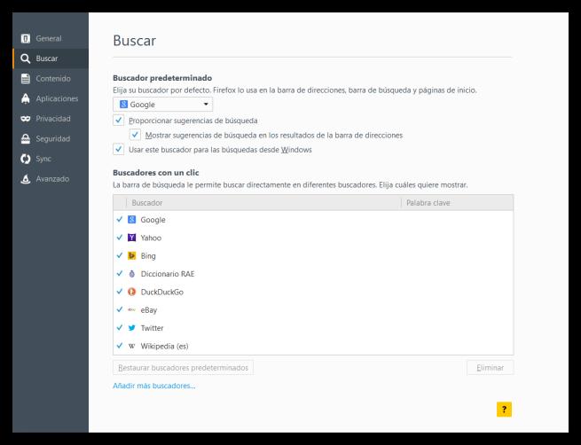 Desactivar sugerencias búsqueda Firefox PC