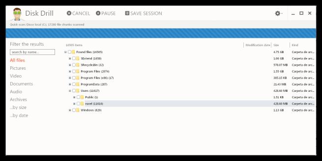 Disk Drill - Buscando archivos eliminados