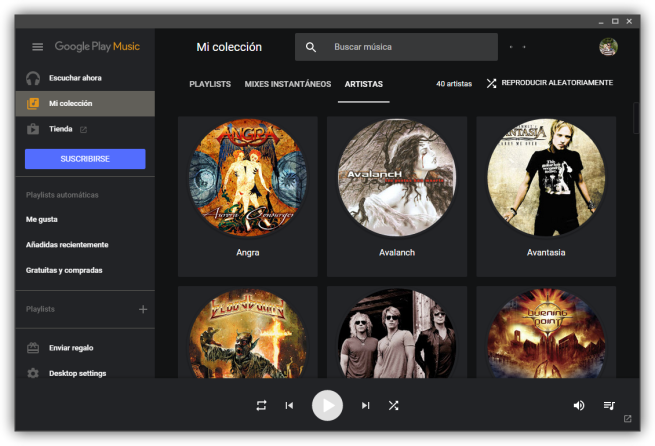 Google Play Music Desktop Player - Tema oscuro