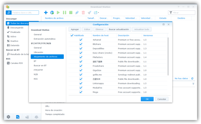 Hostings de archivos en Download Station de Synology