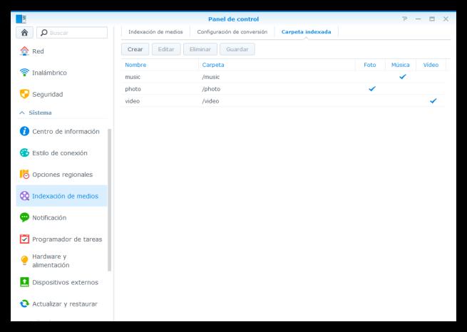 Indexar nuevas carpetas servidor multimedia NAS Synology